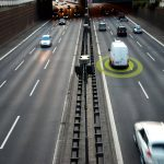 Commercial van in freeway using new safety fleet technology